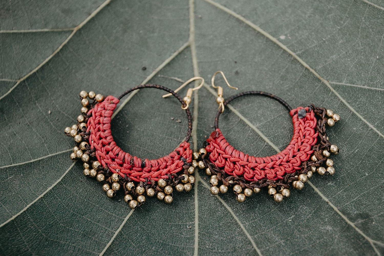 Unique Boho Earrings Hippie Earrings Fair Trade Earrings Brass Bead Womens Earrings Festival Earrings