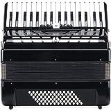 Classic Cantabile Secondo III 72 - Acordeón bajo (3 coros, 34 teclas de agudos, incluye correa y bolsa), color negro, negro