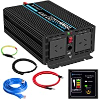 Power Inverter Pure Sine Wave 1000 Watt 12V DC to 240V AC Converter-2AC Outlets Car Inverter with One USB Port-5 Meter Remote Control and Two Cooling Fans-Peak Power 2000 Watt