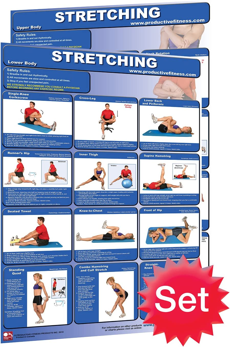 1926534700 Stretching Poster Set of 2 Laminated Poster/Charts; How to Stretch - Improve Flexibility - Range of Motion - Full Body Stretching - Relieve Back Pain - Stretching for Beginners 81htEdFBWSL