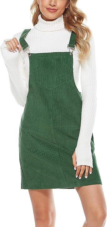 S-L Womens Overall  Dress Bib Sleeveless Strap Corduroy Casual Mini Skirt