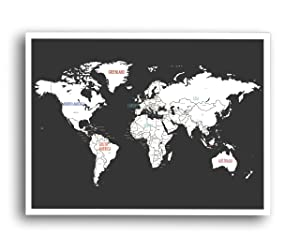 """World Map Wall Art Poster (24"""" x 17"""") - Unframed Black and White color World Map Wall Decor - Full Map of Countries of the World Art - Beautiful Gift for Travelers and Home Decor"""