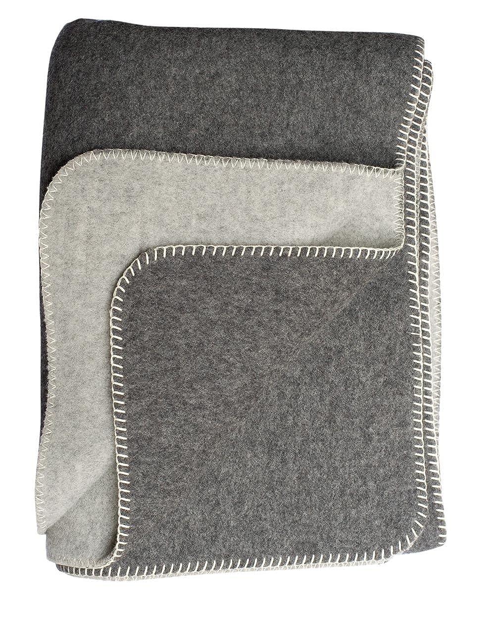 Steinbeck Doubleface-Decke Ökolana aus 100 % naturbelassener Schurwolle, in 4 Größen und 3 Farben