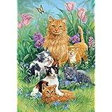 Toland Home Garden Meadow Cats 12.5 x 18 Inch Decorative Spring Summer Flower Kitty Cat Garden Flag
