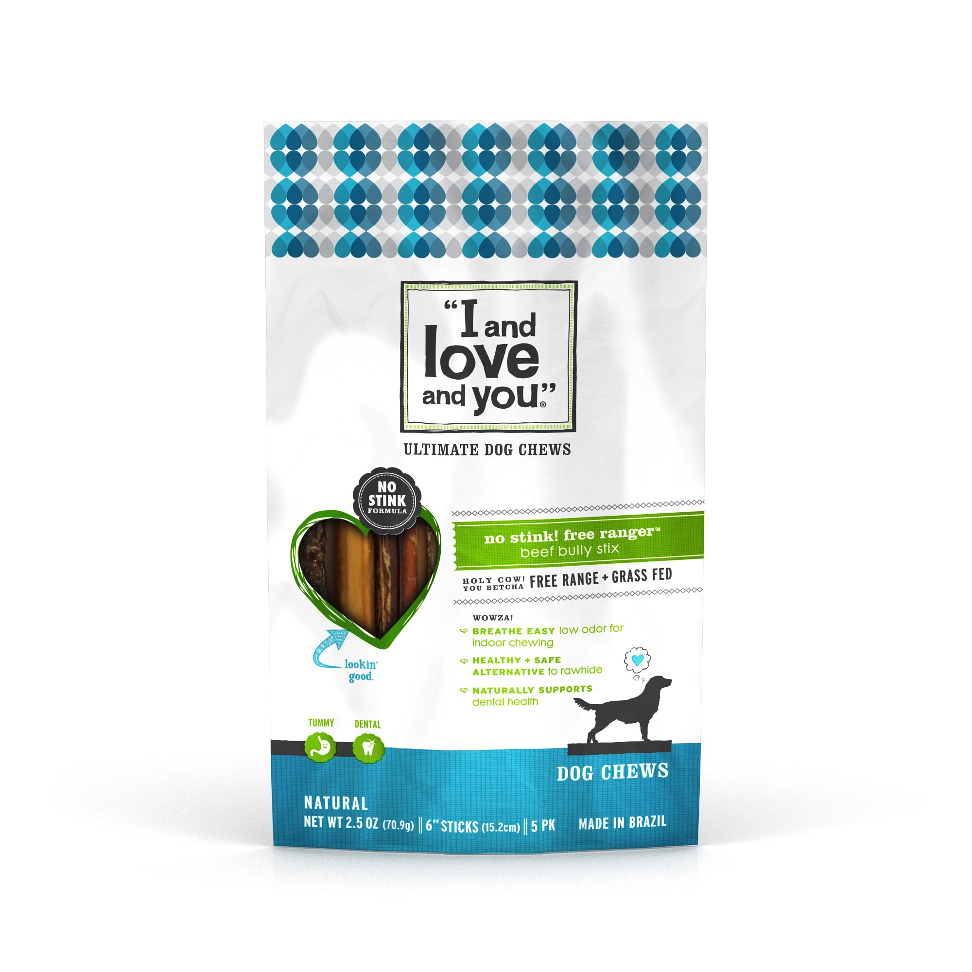 I and love and you'' No Stink! Free Ranger Beef Bully Stix Dog Treats, Five 2.5 Oz 6 Inch Sticks