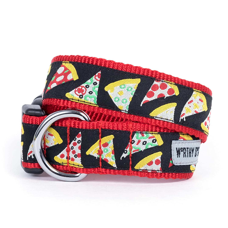 Black, X-Large The Worthy Dog Pizza Slice Pattern Adjustable Designer Pet Dog Collar, Black, X-Large