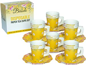 24 PACK Biasdo Paper Tea Party Decorations, 24 Drink Cups with Handles and Matching Dessert Saucer Plates for Baby and Bridal Shower Decor, Birthday Party, Event Hosting, Bright Yellow