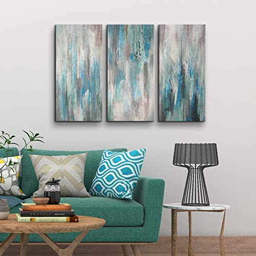 Abstract Framed Canvas Wall Art for Living Room, Bedroom Ink Oil Painting Sea of Clarity Artwork for Home Decoration Ready to Hang 24x36inch