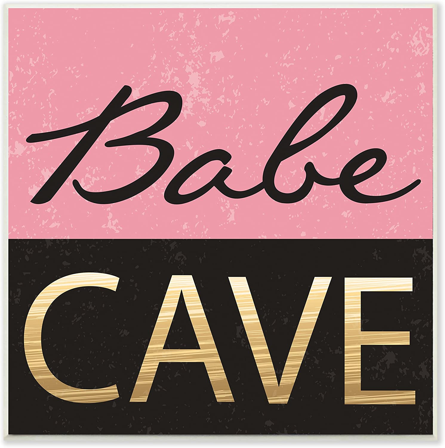 Stupell Industries Babe Cave Pink and Gold Wall Plaque Art, Proudly Made in USA