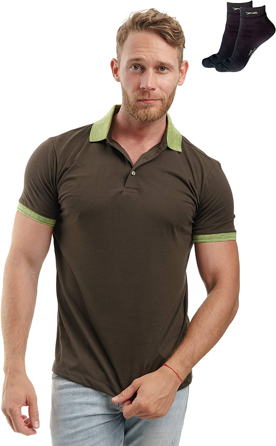 Slim Fit Polo Shirts for Men - Premium Organic Cotton Short Sleeve Casual Fitted Collared Mens Polo T Shirt