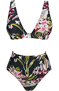 13cec00f4329a COCOSHIP Women s Retro Lush Floral High Waisted Bikini Set Deep V-Neckline  Top Concise Swimsuit