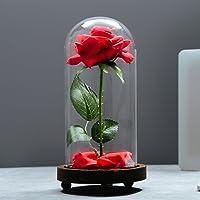 """Vgia """"La bella e la Bestia di rosa in seta artificiale in vetro a cupola su base in legno. Idea regalo per San Valentino, anniversari, compleanni"""