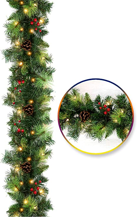 Amazon Com Hykolity 9 Ft Pre Lit Artificial Christmas Garland For Mantel Staircase Banister Flocked With Pinecones Red Berries And 50 Warm White Lights Home Kitchen