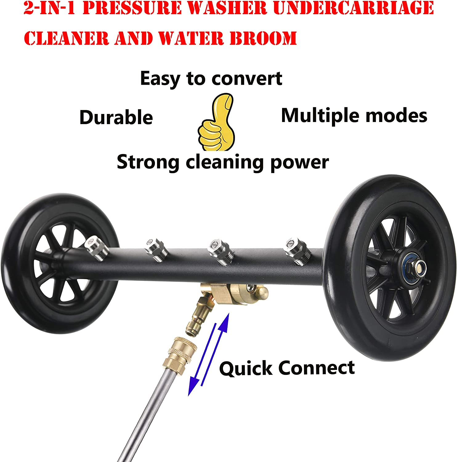 Pressure Washer Undercarriage Cleaner 2In1 Power 16 Inch Water Broom