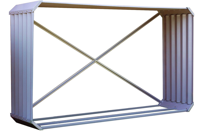 OUTFLEXX estante de leña para chimenea hecho de zink en color plata, aprox. 105X45x180 cm, formato horizontal, soporte tanto para la leña de la chimenea ...
