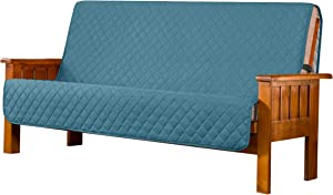 Subrtex Futon Slipcover Quilted Futon Cover Armless Sofa Slipcover Washable Furniture Protector for Futon Daybed Couch Slip Cover with Elastic Adjustable Strap for Pets and Kids (Turquoise)