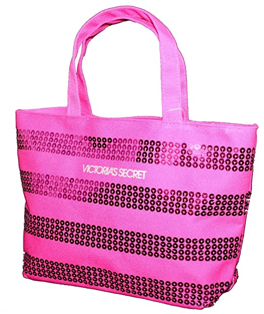 Victoria s Secret Mini Lienzo Bling lentejuelas Rosa Monedero bolso