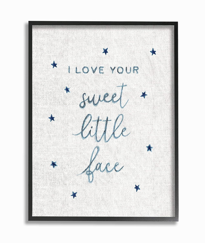 The Kids Room by Stupell I Love Your Sweet Little Face Navy Stars on Linen Framed Giclee Texturized Art 24 x 30 Multi-Color