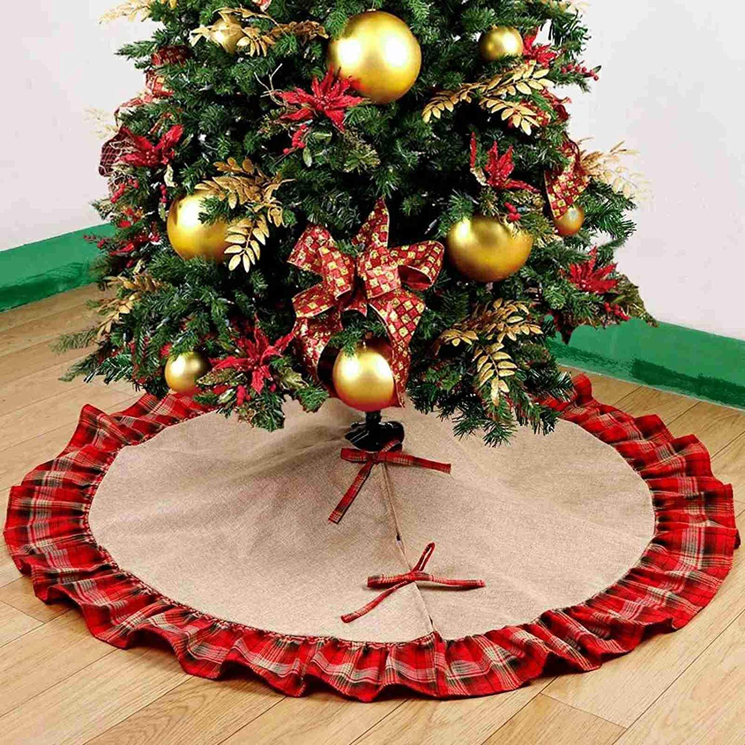 Sea Plan 48 Inch Christmas Tree Skirt Linen Round Plaid Ruffled Pleated Skirt Christmas Party Holiday Decorations