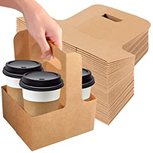 KEILEOHO 75 PCS 2 Cup Kraft Drink Carrier with Handle 7 x 3-1/8 x 8.86 Inch, Paperboard Drink Carrier Disposable, To Go Coffee Cup Holder for Transporting Coffee, Juice, Soup, Tea, Cold and Hot Drinks