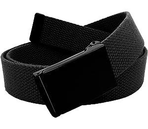 69d4d1d46f Men s Black Flip Top Military Belt Buckle with Canvas Web Belt