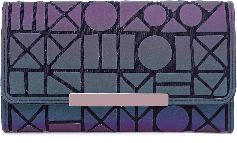 Billetera Geom/étrico Cartera Moda Enrejado Luminoso Tr/íptico Larga Secci/ón Billetera para Mujer NO.1