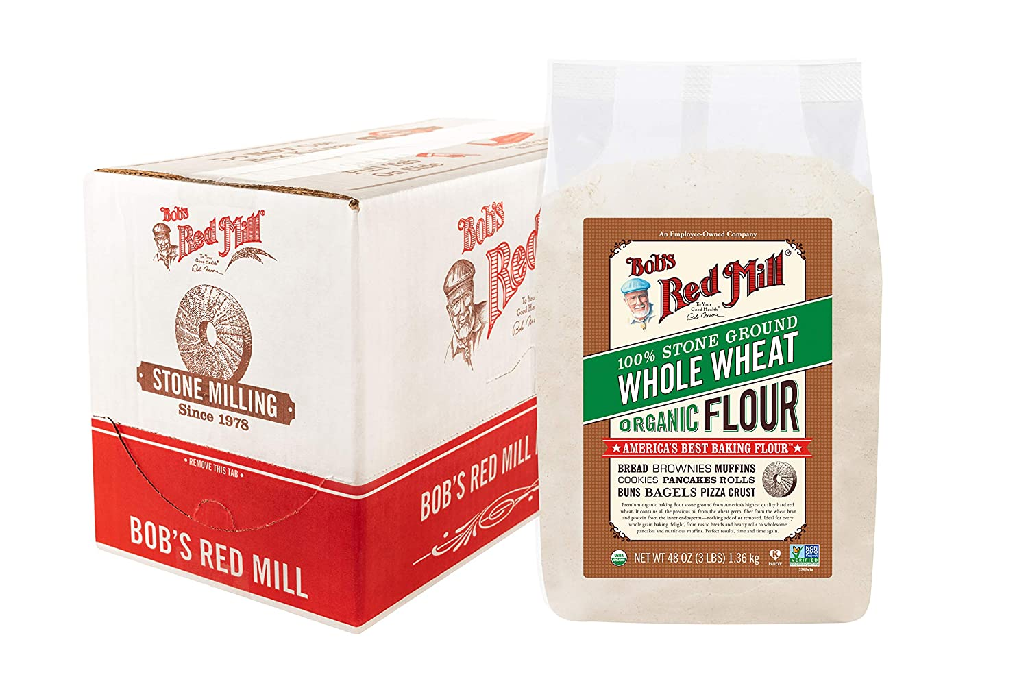 Bob's Red Mill Organic Whole Wheat Flour, 3 Pound (Pack of 4), 192 Ounce