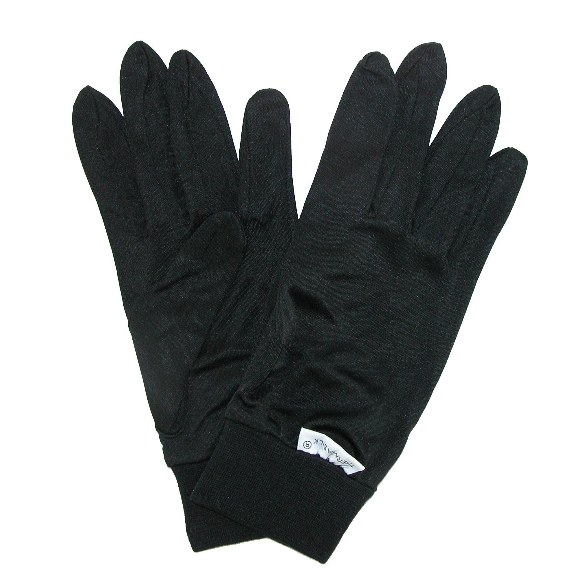 Terramar Kids Thermasilk Ultra-Thin Performance Liner Gloves, Black, Medium (6)