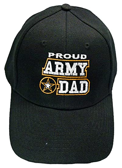 74e19632430d4 Amazon.com  Proud Army Dad Baseball Cap Black Patriotic Mens U.S. ...