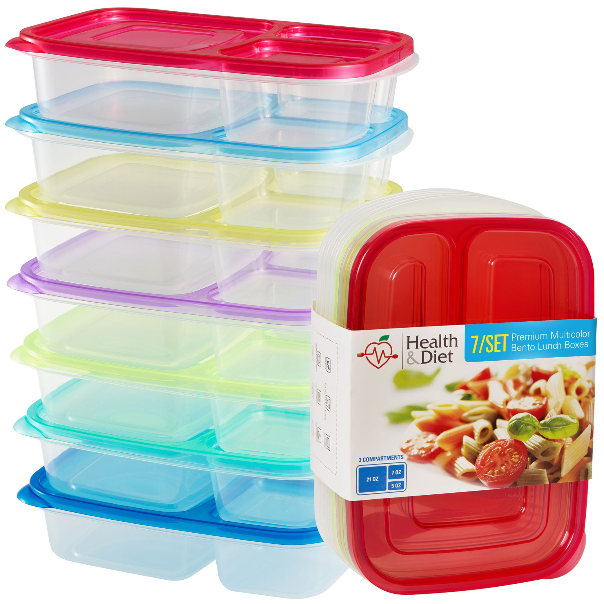 Health & Diet 3 Compartment, Set of 7, Premium Reusable Plastic Bento Lunch Boxes / Food Storage Containers