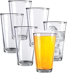 Clear Glass Beer Cups – 6 Pack – All Purpose Drinking Tumblers, 16 oz – Elegant Design for Home and Kitchen – Lead and BPA Free, Great for Restaurants, Bars, Parties – by Kitchen Lux