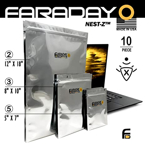 Faraday Cage EMPESD Bags Premium 10pc 7.0mil THICK & Heavy Duty Nesting Kit X Large LaptopNotebook iPad Windows