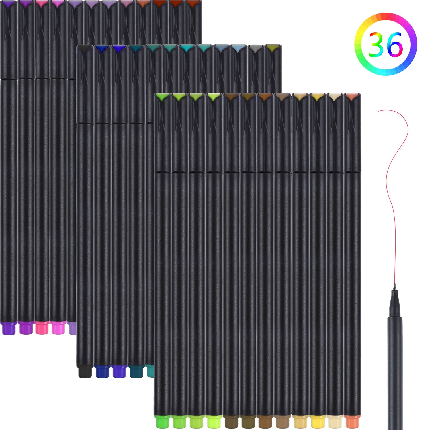 36 Pieces Fineliner Color Pen Set, TOODOO 0.38 mm Colored Sketch Drawing Pen, Porous Fine Point Markers for Bullet Journal and Note Taking without Bleeding Paper
