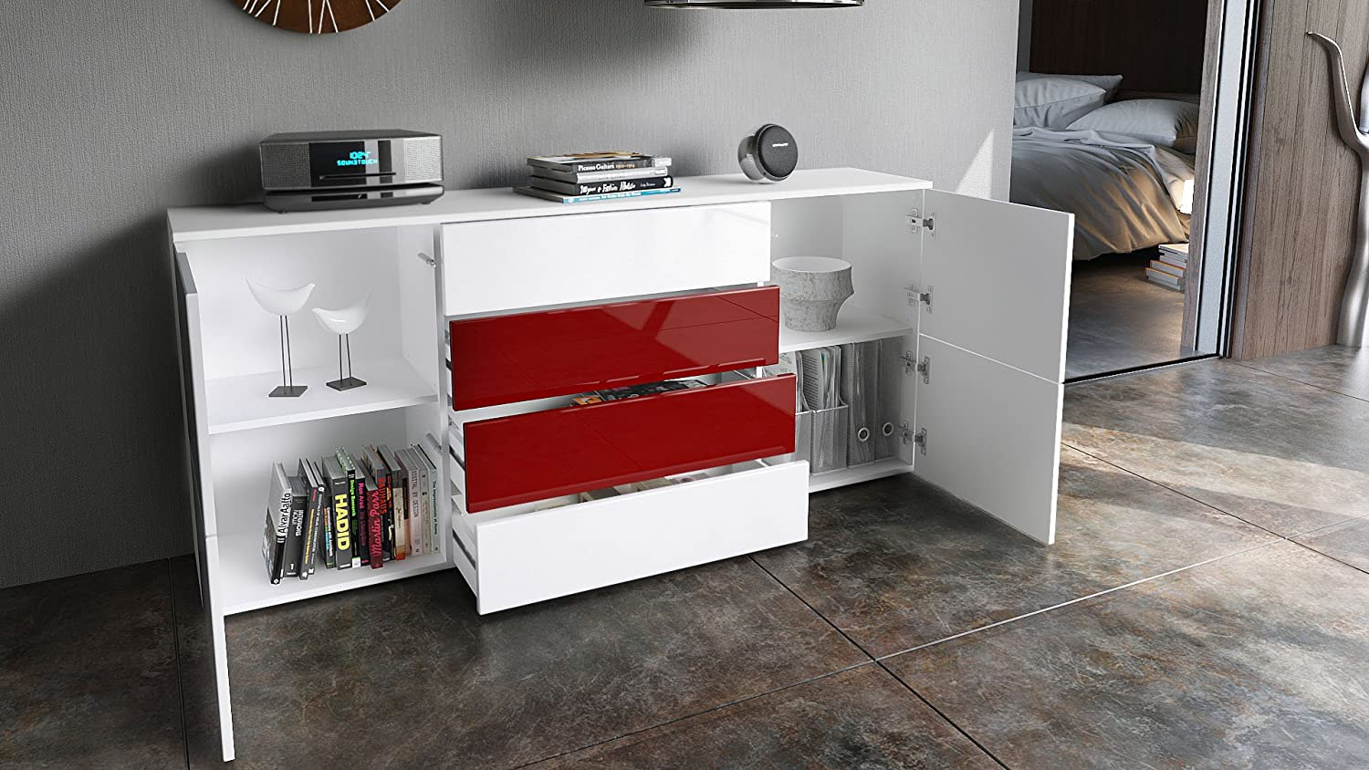 Vladon Sideboard Chest of Drawers Rova, Carcass in White matt/Fronts in White High Gloss and Raspberry High Gloss White High Gloss / Grey High Gloss