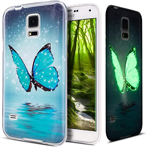 Ikasus Kompatibel Mit Galaxy S5 Hülle Galaxy S5 Neo Hülle Galaxy S5 S5 Neo Schutzhülle Bunte Gemalt Leuchtend Luminous Handyhülle Tpu Silikon Hülle Handy Hülle Tasche Schutzhülle Blau Schmetterling Elektro Großgeräte