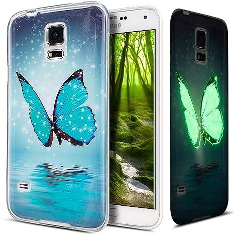 Funda Galaxy S5,Funda Galaxy S5 Neo,Carcasa Galaxy S5 / S5 Neo Funda, ikasus [Ultra Slim] Arte pintado Luminoso Flexible TPU Transparente Carcasa ...