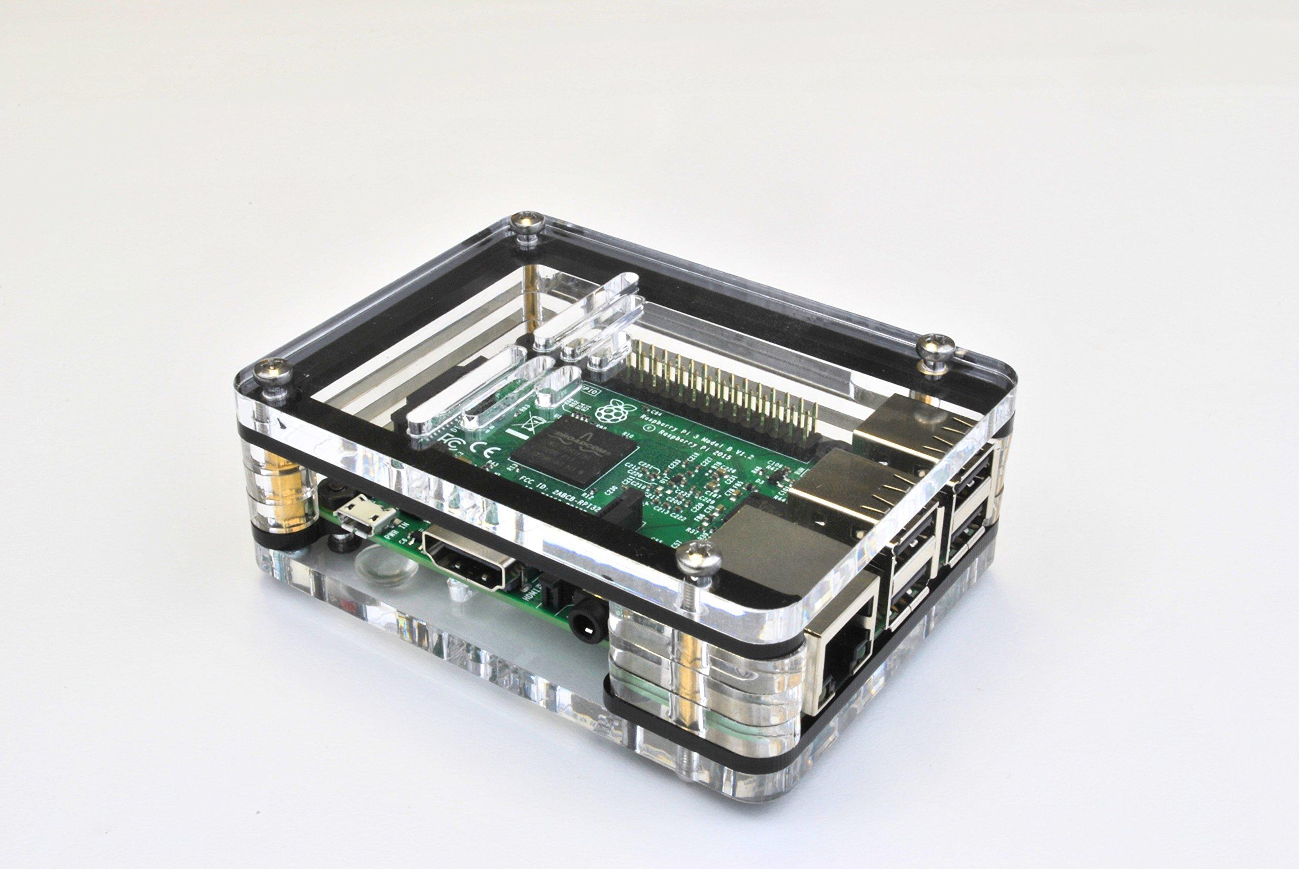 BlackShark Tech SkyCase - Premium Raspberry Pi Case for Pi 3, Pi 2, Pi B+ and 2B (black)