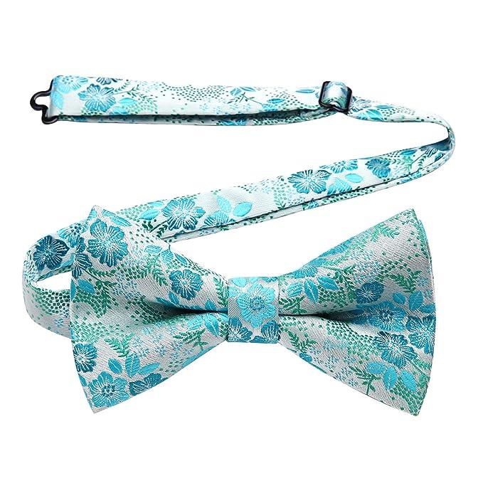 HISDERN Hombres corbata floral mariposa pajarita boda ajustable ...