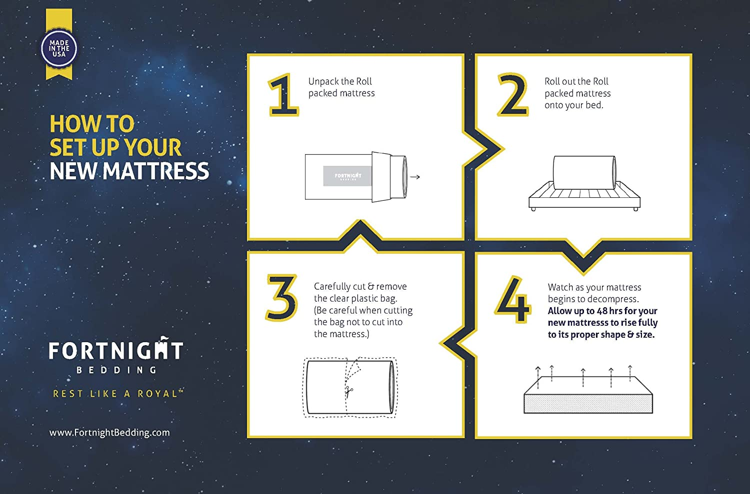 Fortnight Bedding 4 inch Foam Mattress with Durable Fabric Cover Twin Size Made in USA CertiPUR-US Certified