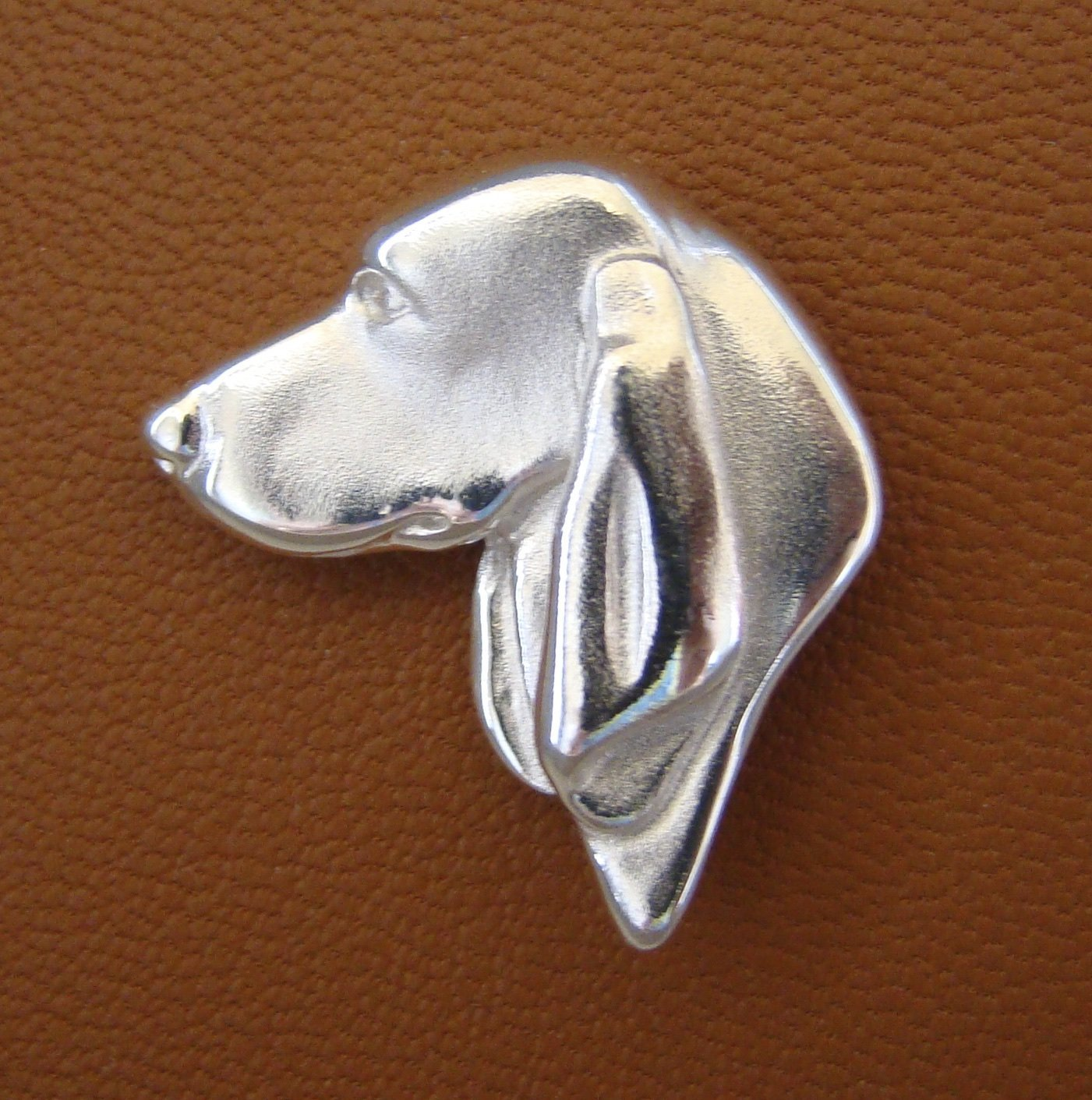 Large Sterling Silver Black And Tan Coonhound Head Study Tie Tack