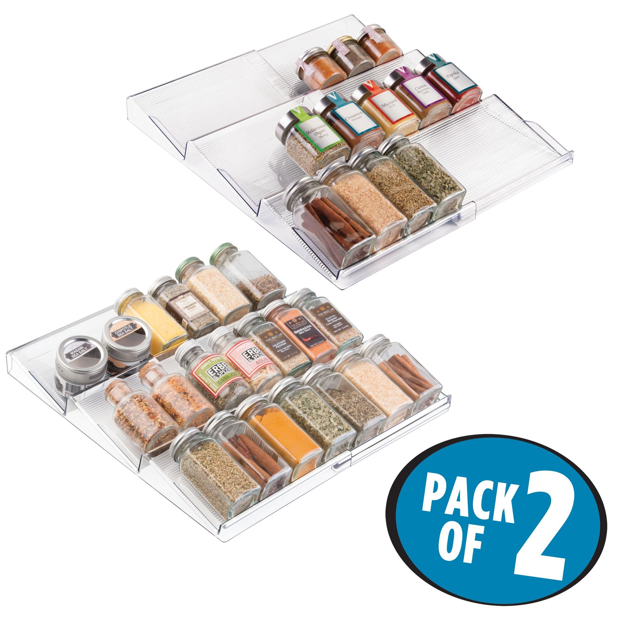 mDesign Adjustable, Expandable Spice Rack Drawer Organizer Tray Insert for Kitchen Cabinet Drawers - 3 Slanted Storage Shelves - Garlic, Onion, Cinnamon, Salt - BPA Free, Food Safe - Pack of 2, Clear by mDesign