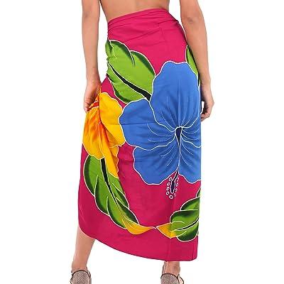 La Leela Rayon Hand Hibiscus Flower Print Bikini Cover Up Swim Wrap