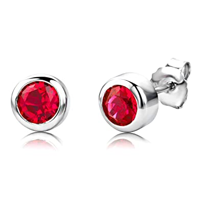 ByJoy Earrings for Women Sterling Silver solitaire Studs earrings Ruby 925 Silver gijBK