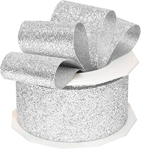 Silver glitter shimmer ribbon 2m Top Quality