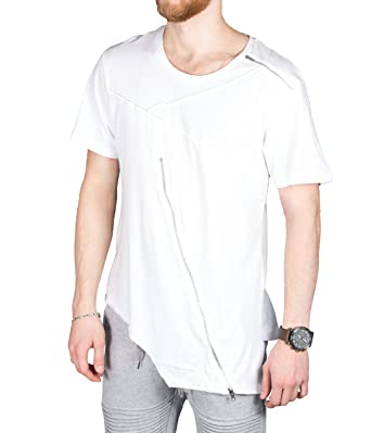 bb7f9ad9990d7d BetterStylz CalmortBZ Zip Slub T-Shirt lang Geschnittenes Shirt hinten  länger S-XL (