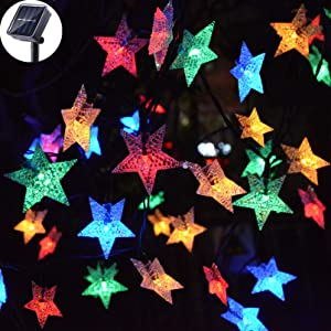 Viewpick Solar Star String Lights Outdoor Multicolor LED Star Twinkle Christmas Fairy Lights Garden Landscape Colorful Decor Lights for Patio Yard Lawn Patio Xmas Tree(30ft 50LED)