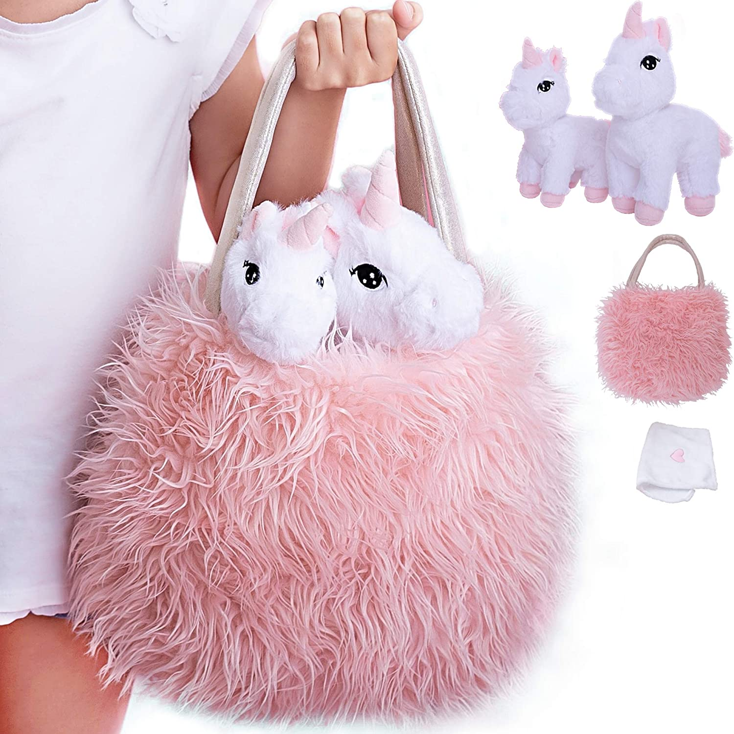 Unicorn Gift for Girls 4 Pcs Set. Baby and Mommy Unicorn Toy, XL Furry Bag and Baby Doll Blanket. Adorable Plush Toy for 3 4 5 Year Old Girl, Unicorn Gift for Little Girl. Birthday, Christmas Age 2-8