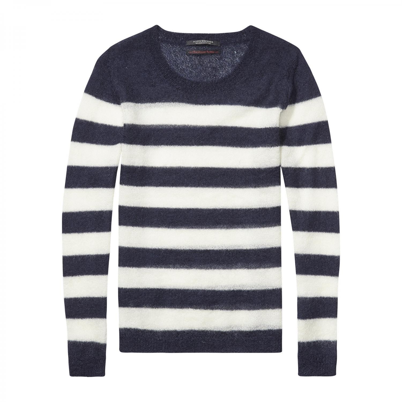 Maison Scotch Damen Pullover Striped Mohair 102204 Combo B S
