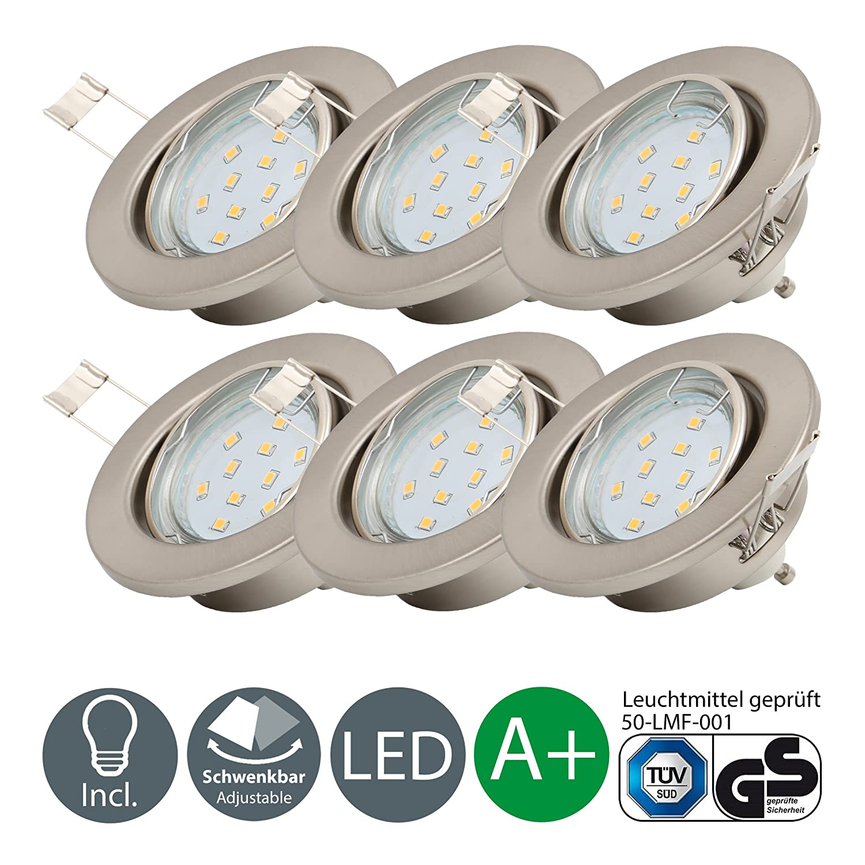 6 x LED Recessed ceiling lights I Rotatable I Fitted light I Round I Warm white I Metal I Modern Design I Matte nickel I 6 x 3 W illuminant I 230V I GU10 I IP23 [Energy Class A+] B.K.Licht 10-02-06-S