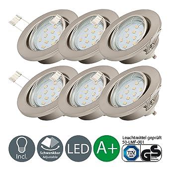 LED Einbaustrahler schwenkbar inkl. 6 x 3W Leuchtmittel 230V GU10 ...